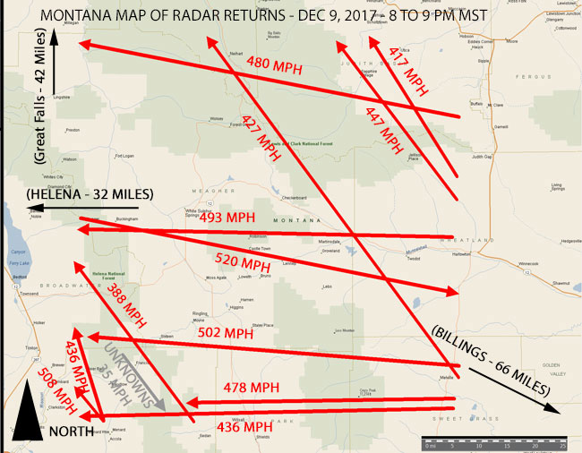 MAP OF RADAR AIRCRAFT & UNKNOWN RADAR RETURNS - DEC 9, 2017.